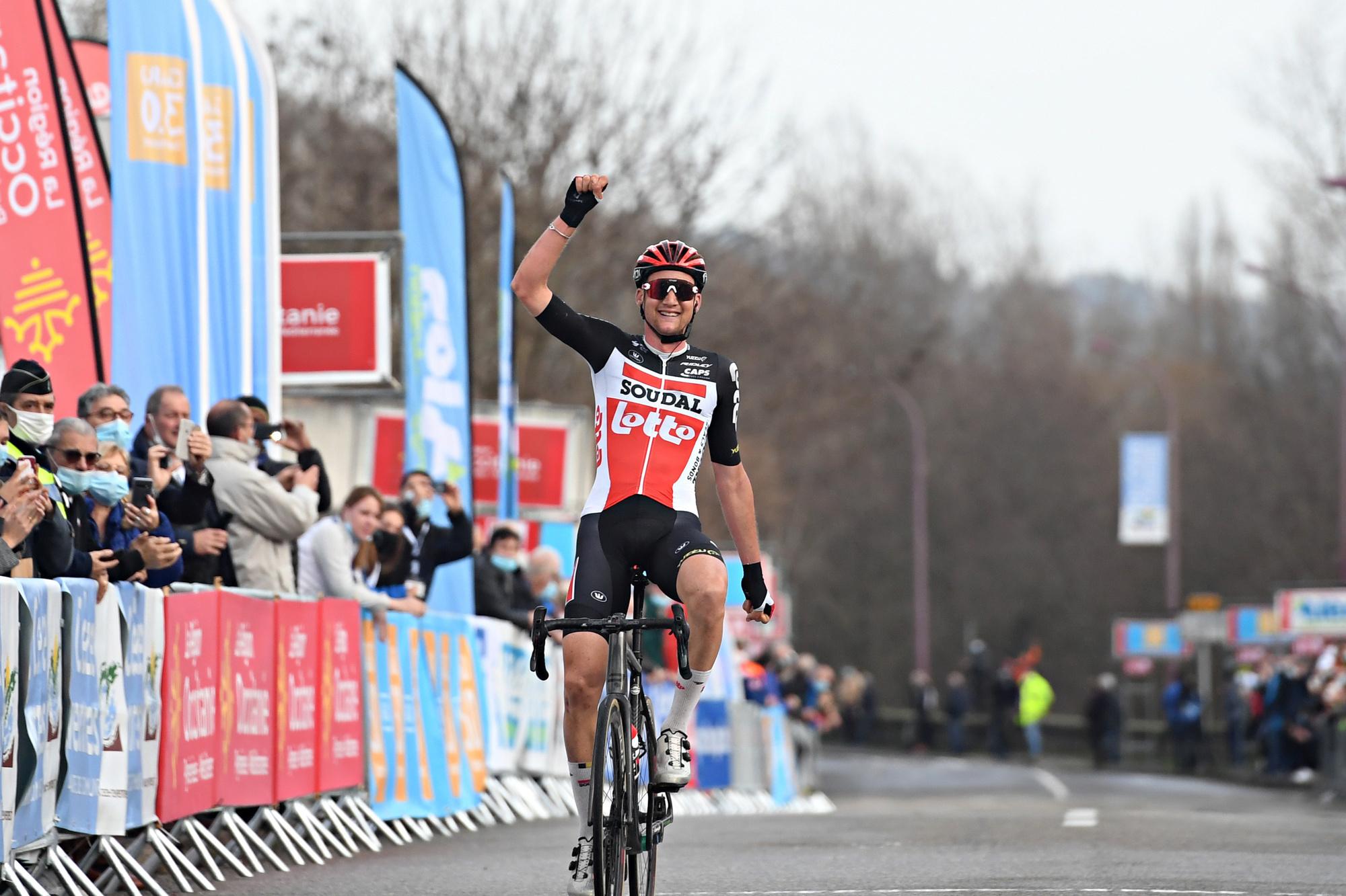 Tim Wellens lors de son succès sur la troisième étape de l'Étoile de Bessèges., belga
