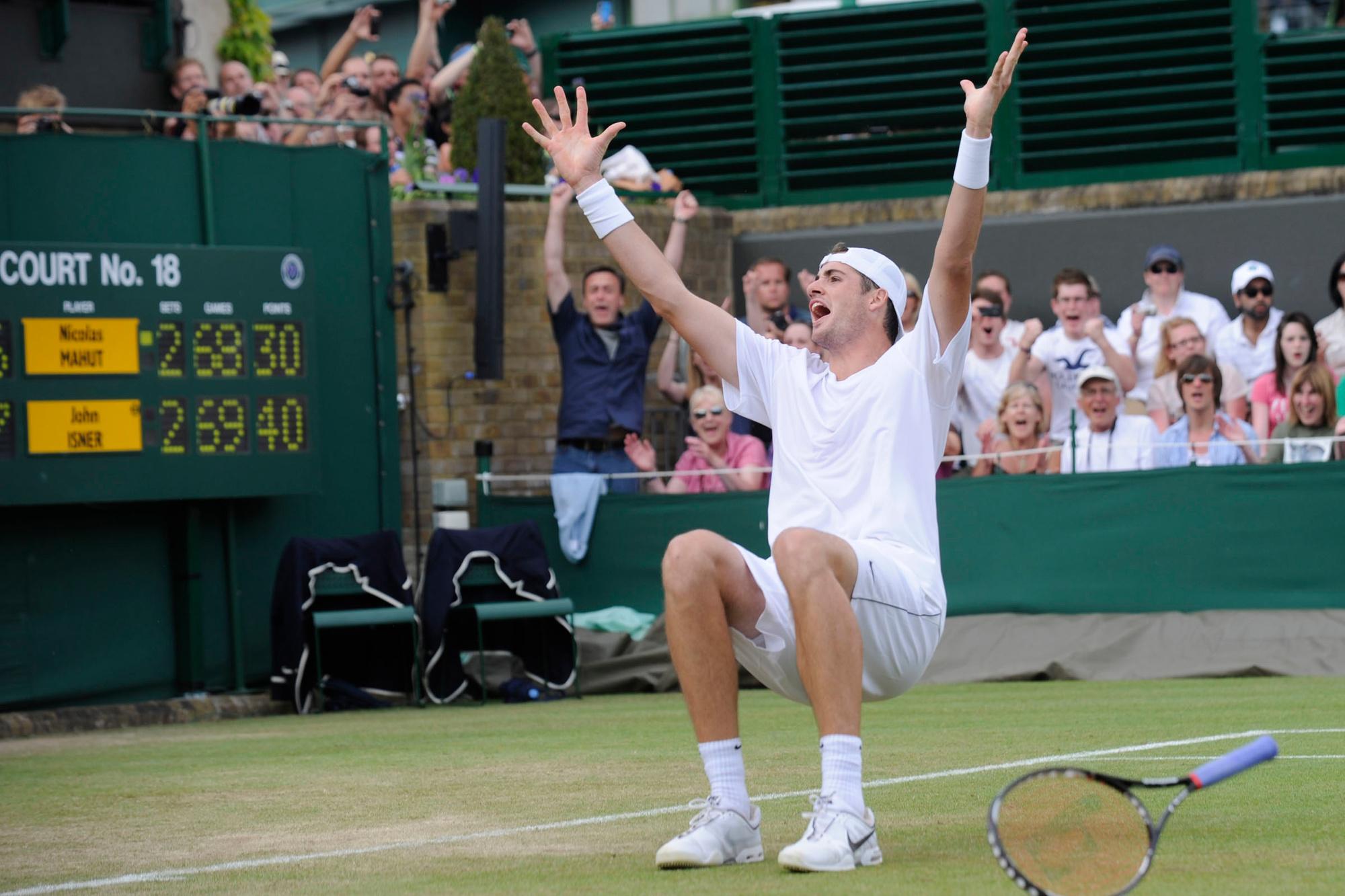 John Isner barst in vreugde uit na 11 uur tennis., GETTY