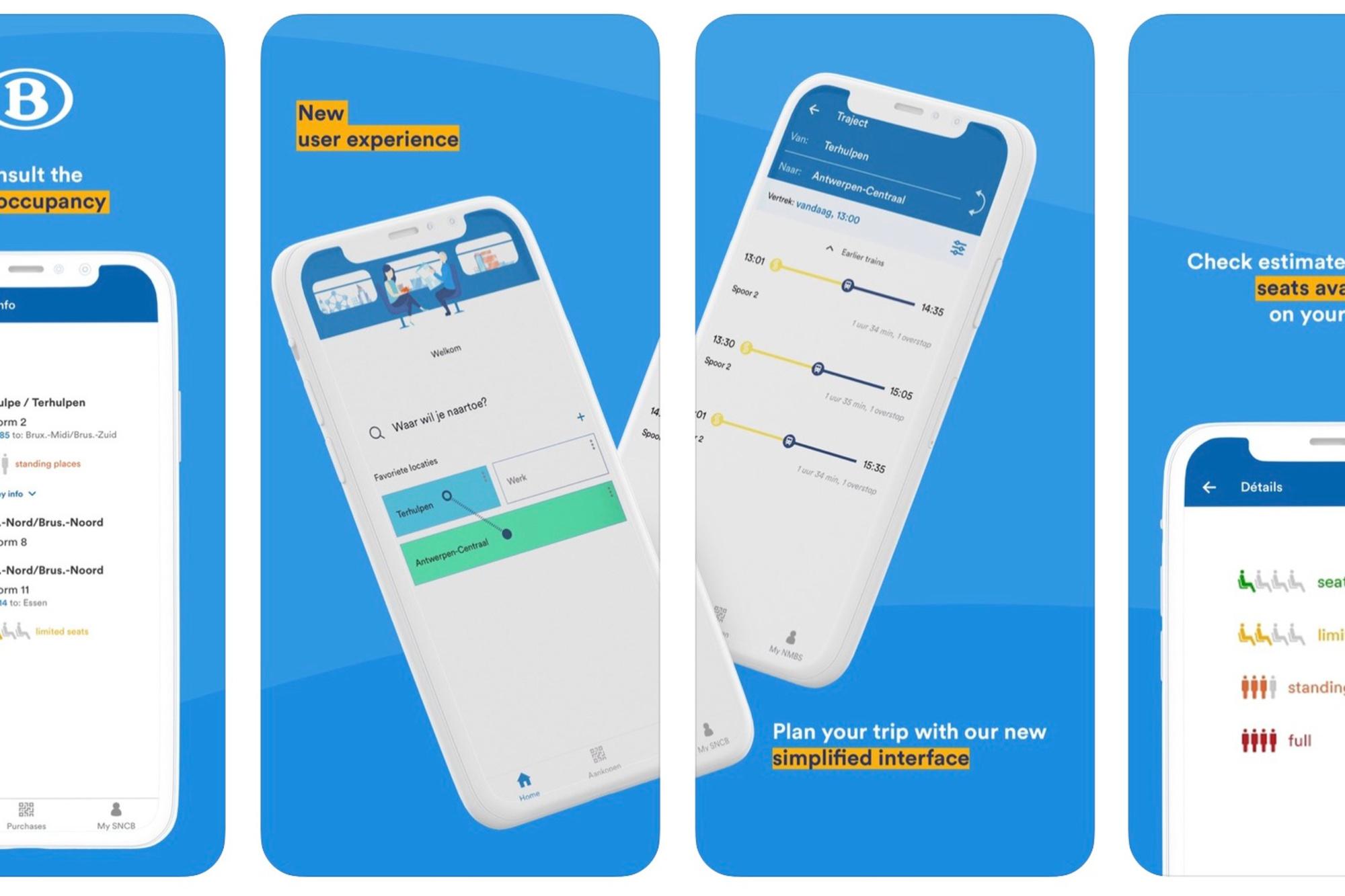 Een impressie van de MoveSafe-app., NMBS