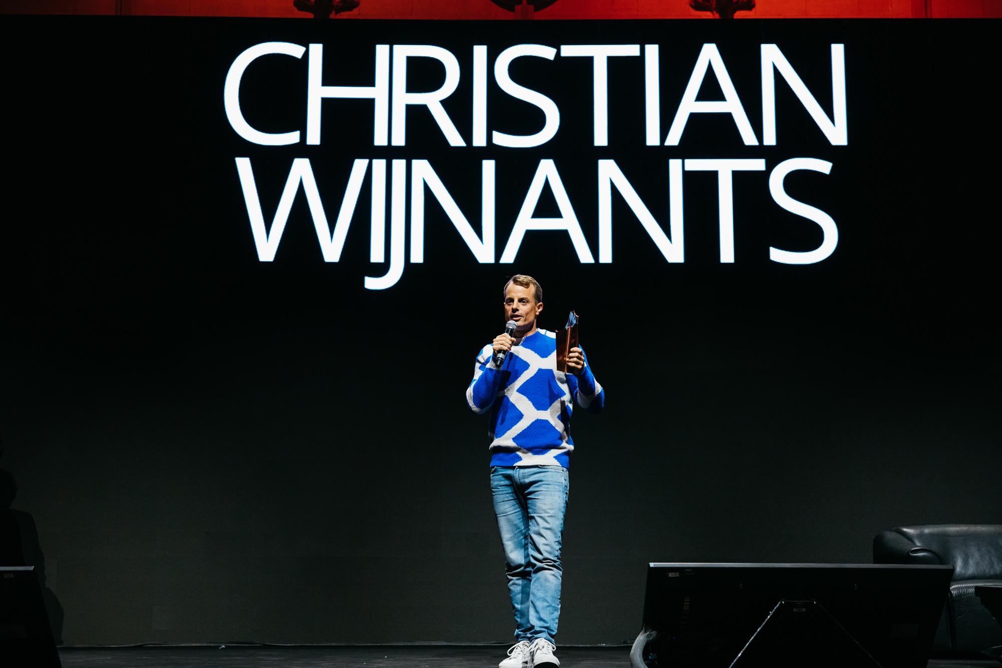Ontwerper Christian Wijnants tijdens de uitreiking van de Belgian Fashion Awards., Fille Roelants