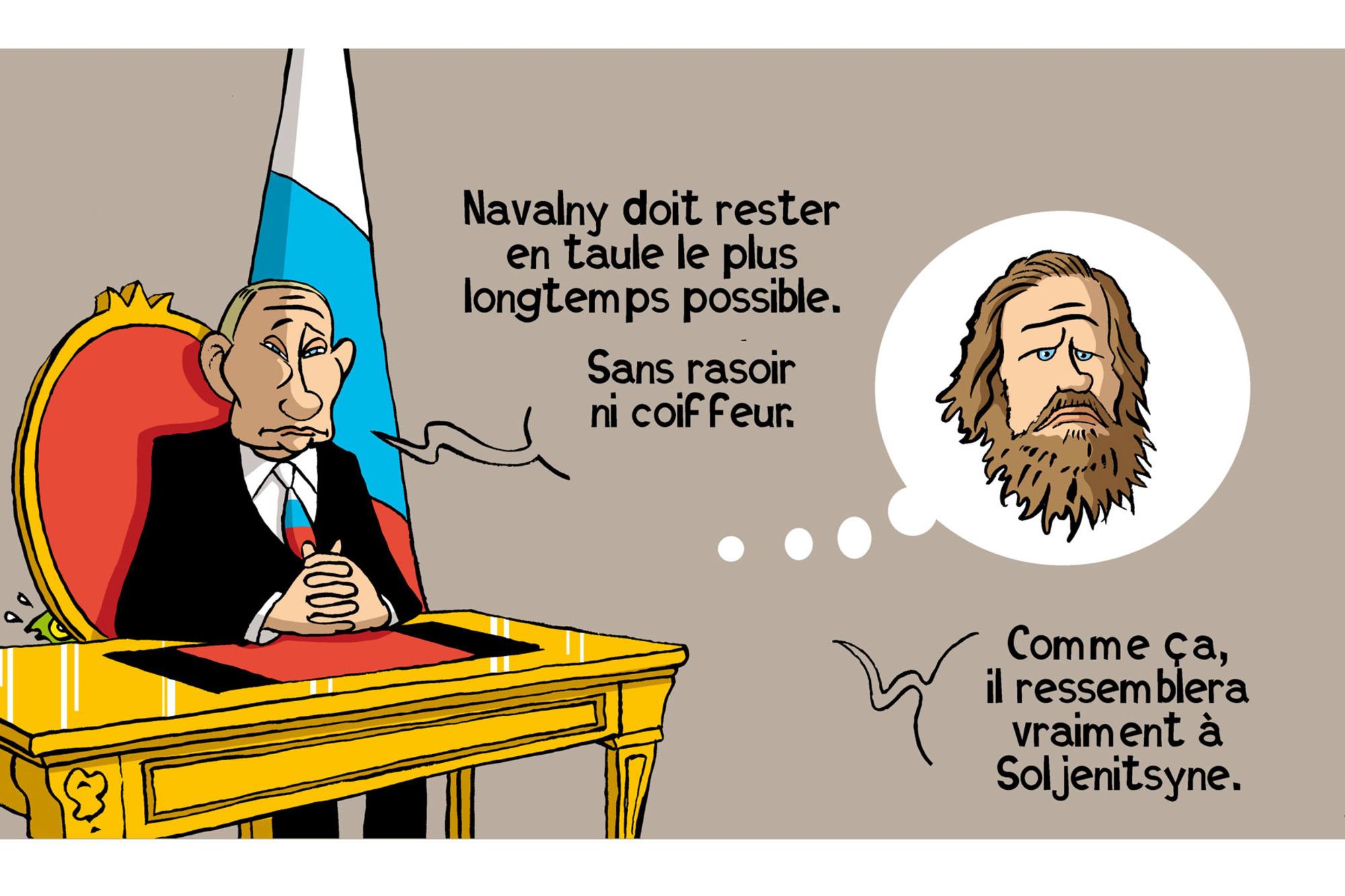 L'emprionnement de l'opposant politique Alexeï Navalny en russie illustre une dérive du pouvoir de plus en plus autocrate de la part de Poutine., Vadot