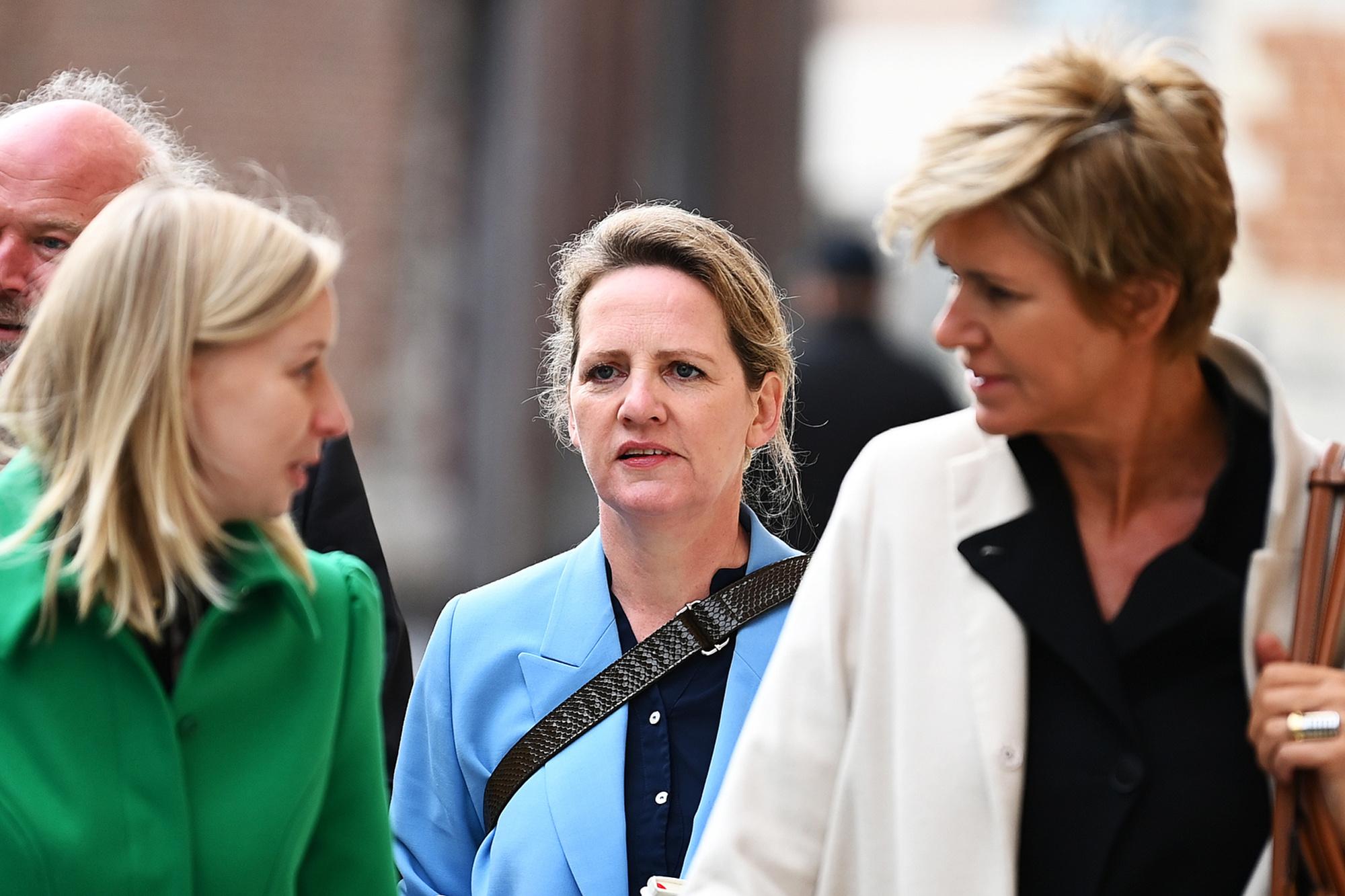 An-Sofie Raes (L), Maaike Cafmeyer (M) en Christine Mussche (R), Belga Image