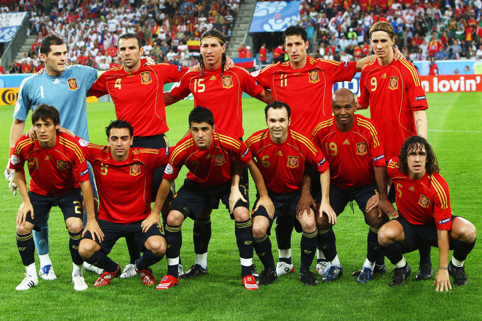 Het Spanje dat Rusland een demonstratie gaf in de eerste groepswedstrijd op het EK 2008, GETTY
