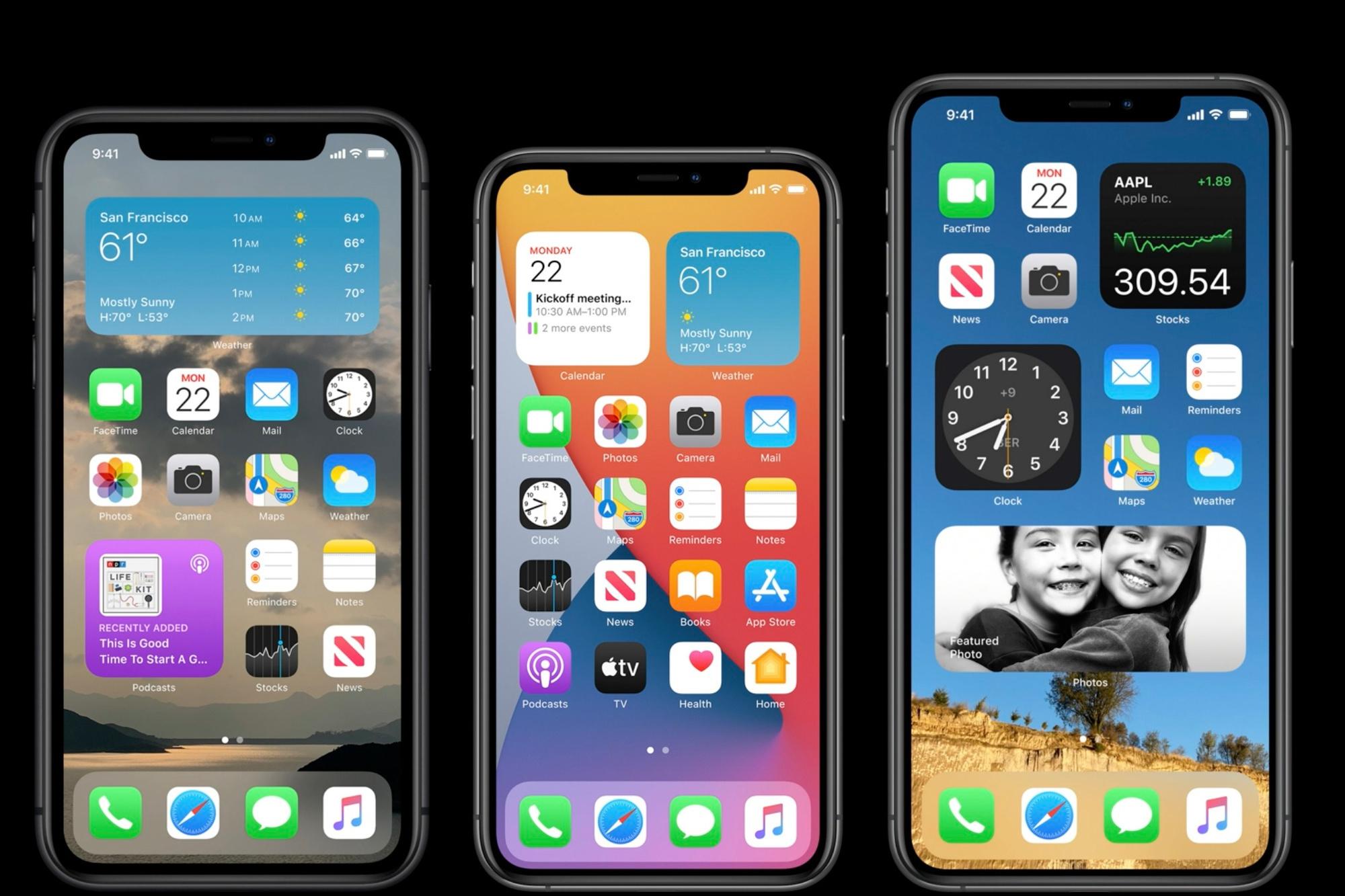 Des exemples de widgets sur plusieurs modèles d'iPhone., Apple
