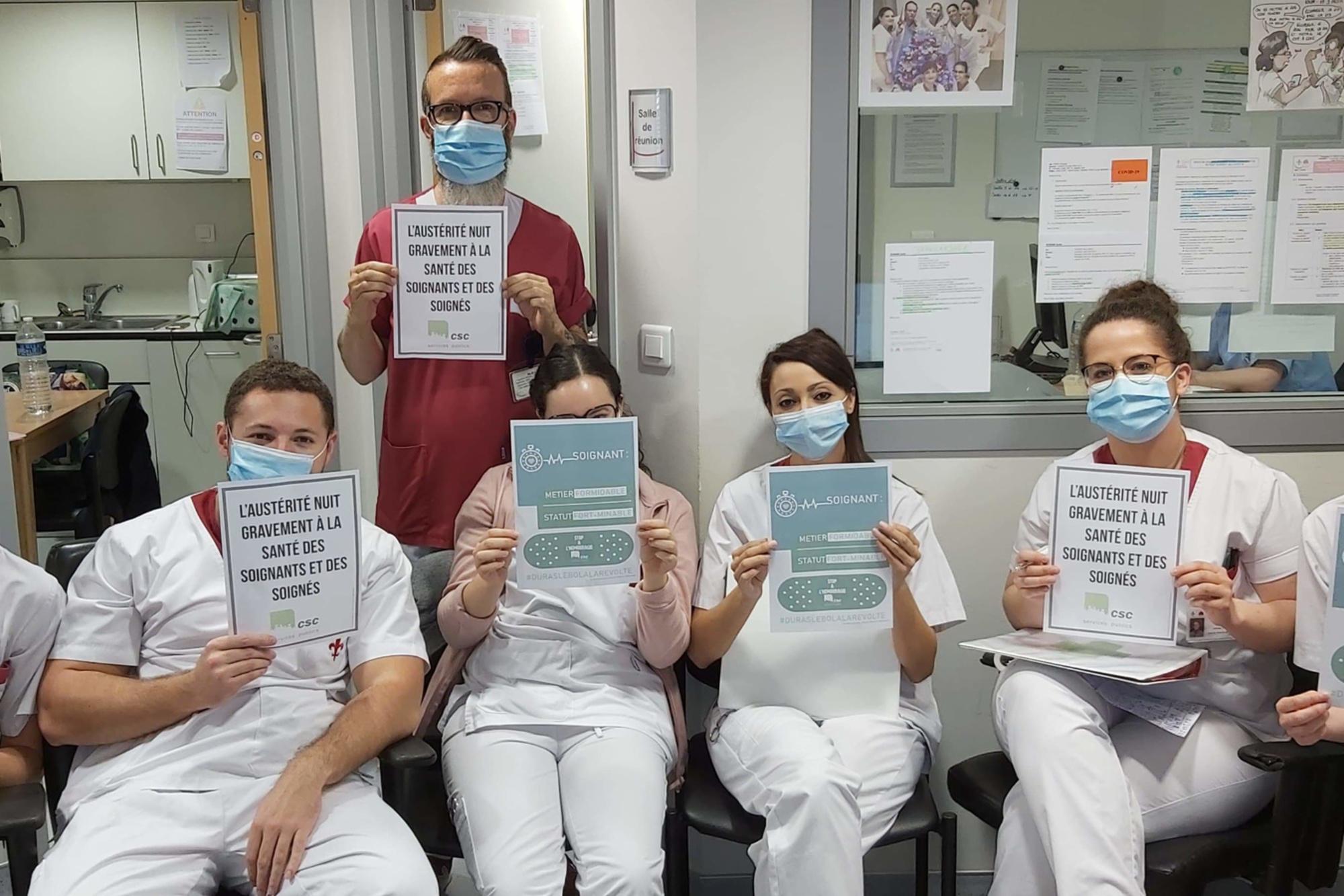 Une campagne photo a été initié, ce jeudi, par les travailleurs des institutions de soins hospitaliers hennuyers., DR
