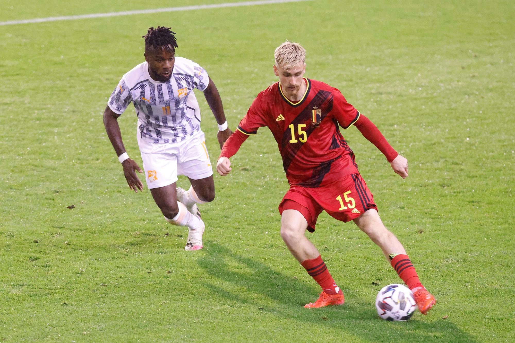 Alexis Saelemaekers contre la Côte d'Ivoire., belga