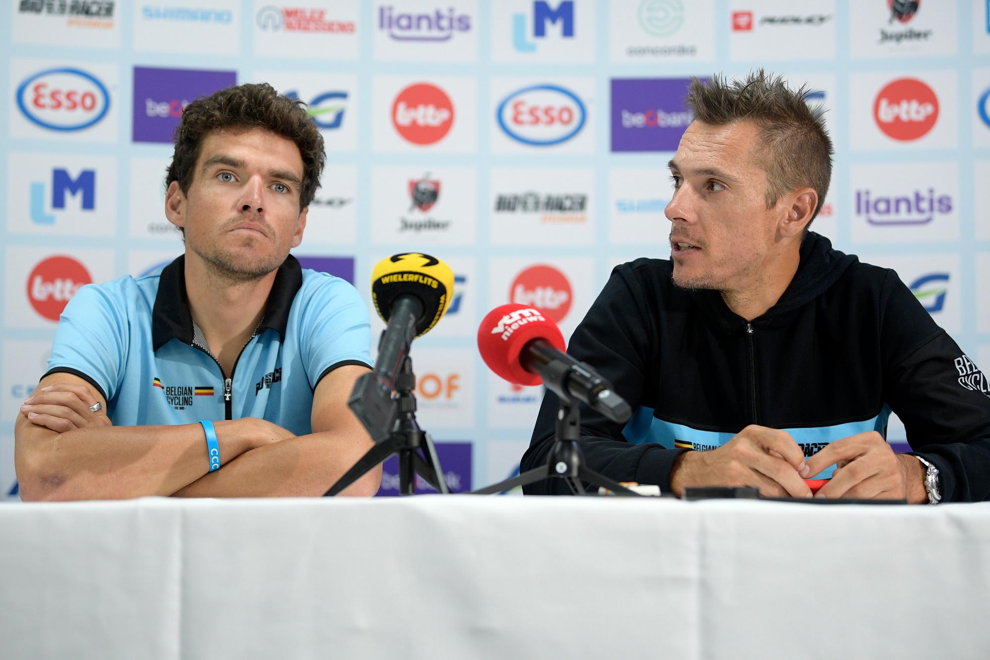Habituels leaders de l'équipe belge lors des sélections des 10 dernières années, Greg Van Avermaet et Philippe Gilbert regarderont les Mondiaux depuis leur canapé., belga