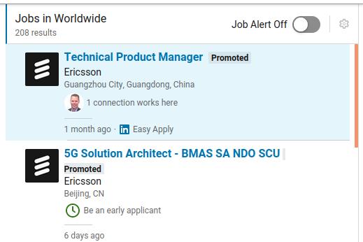 Une recherche d'emplois LinkedIn chez Ericsson en Chine, .