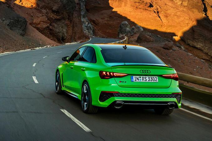 De RS3 is verkrijgbaar als hatchback en berline, GF