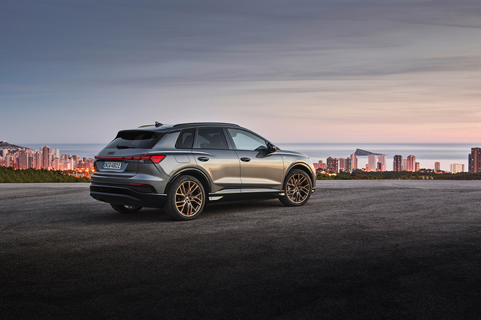 De Audi Q4 E-Tron wordt gelanceerd met drie vermogensvarianten., GF