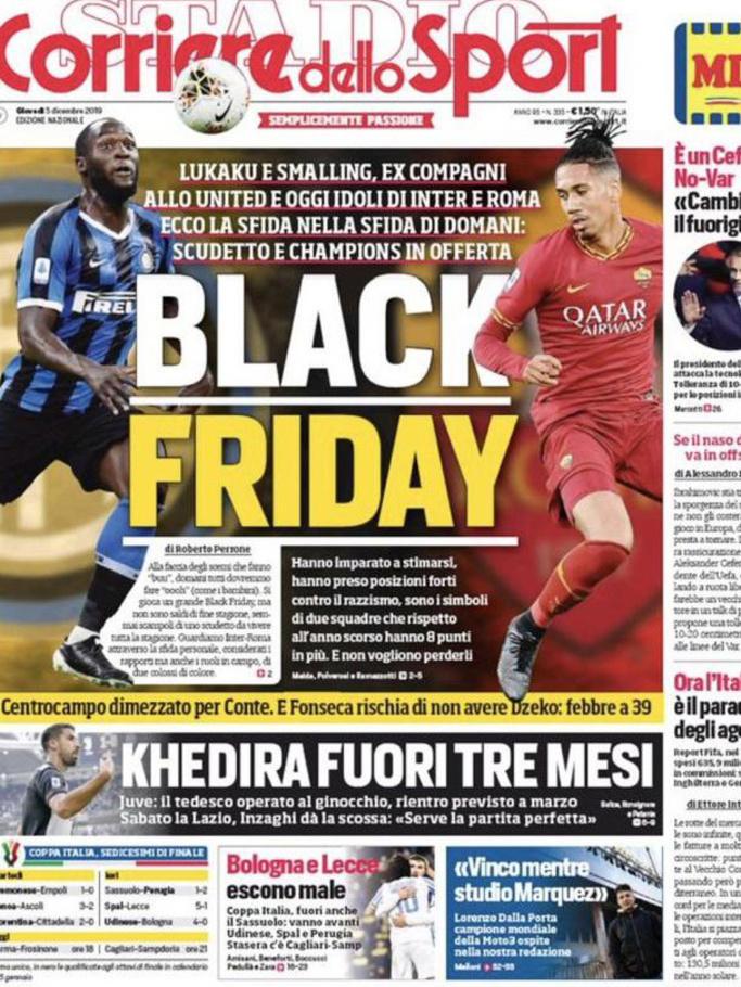 De voorpagina van de Corriere dello Sport, Corriere dello Sport