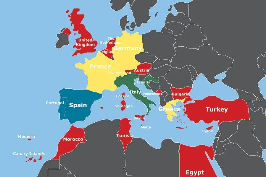 En vert, les pays ouverts aux Belges (accès limité ou sous conditions). En jaune, pays ouverts aux Belges à partir du 15 juin. En bleu, pays ouverts aux Belges à partir du 1 juillet. En rouge, pays pas encore ouverts aux voyageurs. En gris, situation inconnue. Cette carte évolue chaque jour, cliquez sur le lien pour voir la situation en temps réel., Neckermann