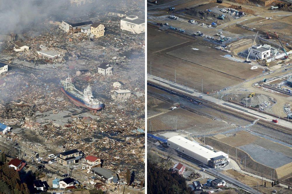 La ville de Kesennuma, le 12 mars 2011 et le 16 février 2016., REUTERS/Kyodo