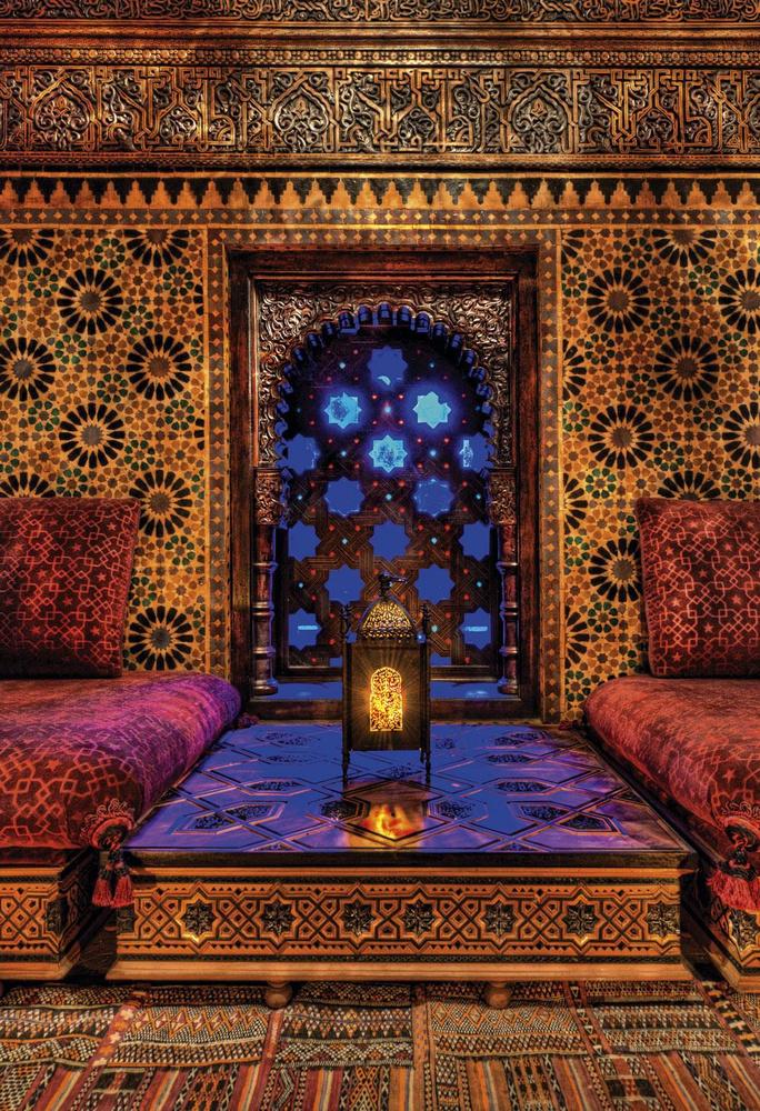 Dans les salons d'apparat, le verre colore la pièce de ses reflets bleutés., PATRICE NAGEL / FONDATION SERGE LUTENS