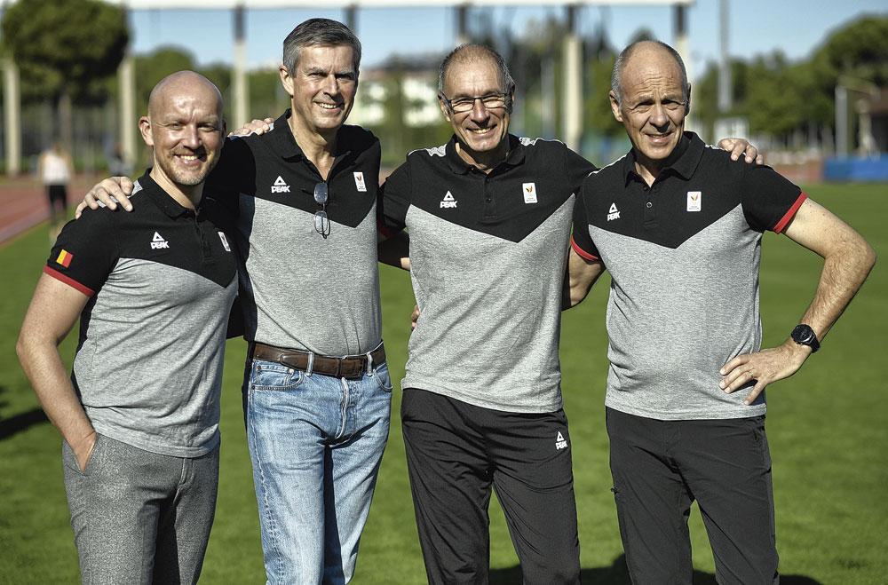 Olav Spahl, directeur du sport de haut niveau du COIB avec Pierre-Olivier Beckers (président), Luc Rampaer (Communication Manager) et Philippe Vander Putten (CEO)., BELGAIMAGE