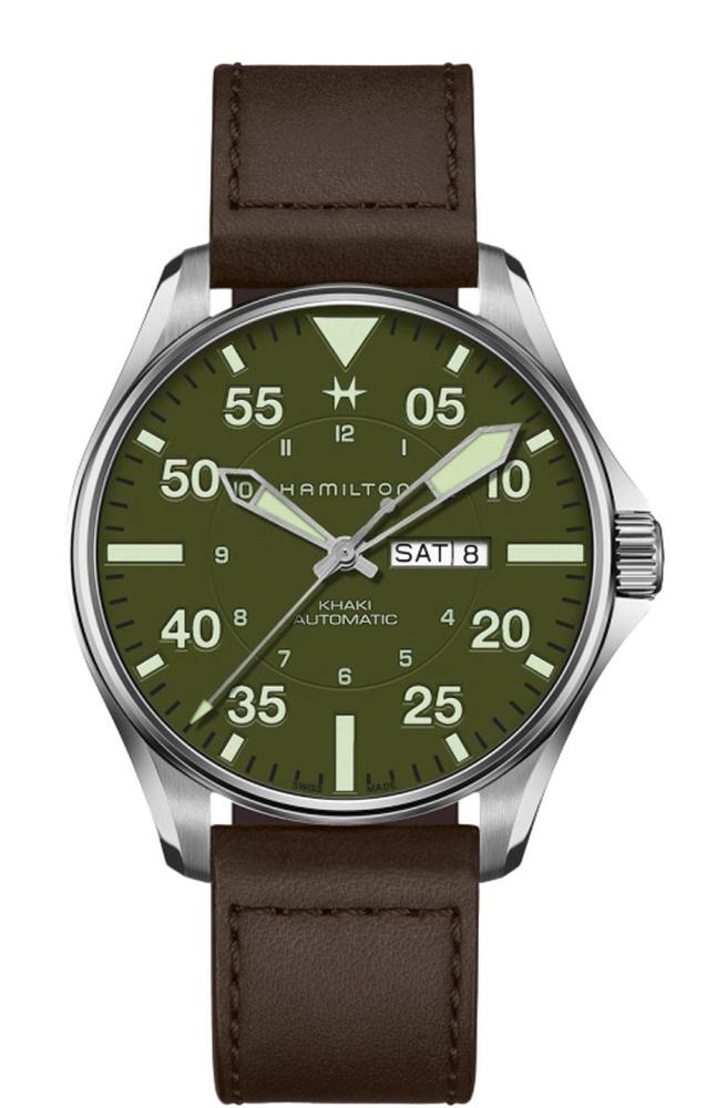 Montre automatique Khaki Aviation Pilot Schott NYC, en acier inoxydable, avec bracelet en cuir, Hamilton, 1 095 euros., SDP