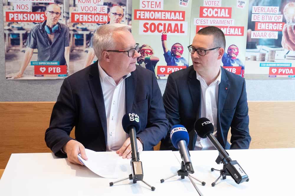 Peter Mertens et Raoul Hedebouw, Belga