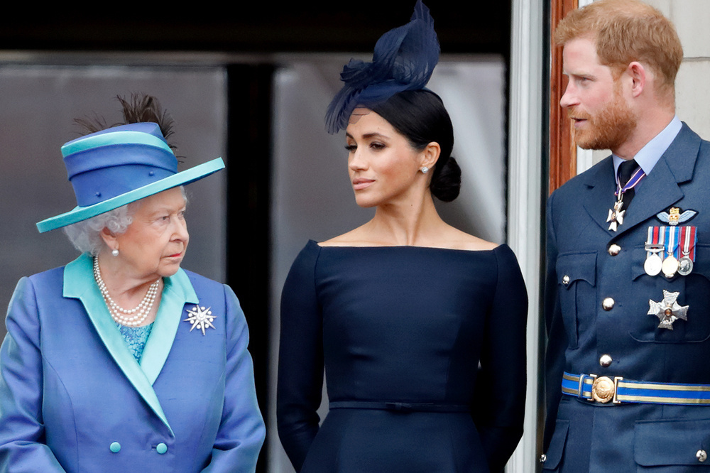 Elizabeth, Meghan et Harry, en juillet 2018, Getty Images