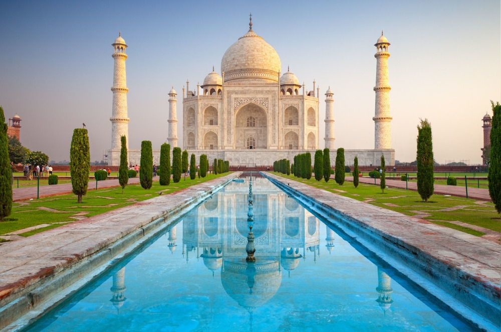 """Agra, India - October 11, 2016: Facade view of Taj Mahal in Agra, India. It was commissioned in 1632 by the Mughal emperor, Shah Jahan (reigned 1628â€""""1658), to house the tomb of his favourite wife, Mumtaz Mahal., Getty Images"""