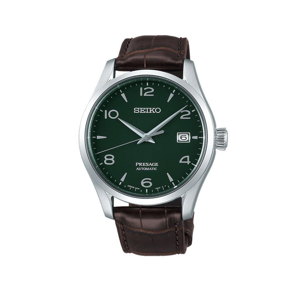 Montre automatique Green Enamel Presage, en acier inoxydable, avec bracelet en crocodile, Seiko, 1 500 euros., SDP