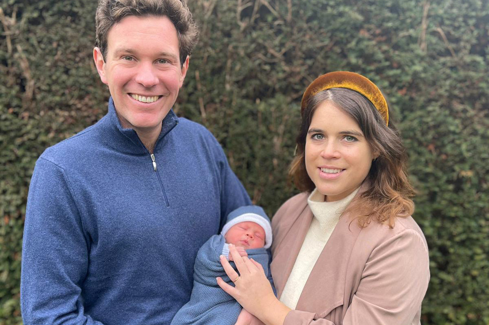 Jack Brooksbank, la princesse Eugenie et leur fils August, AFP