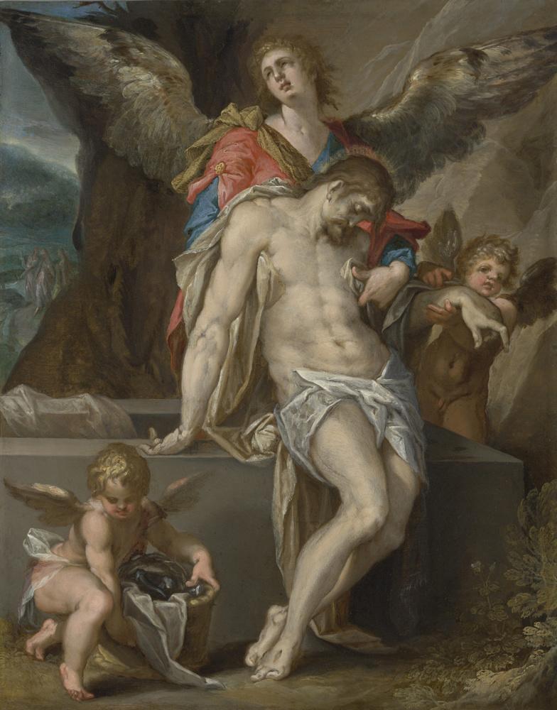 Bartholomeus Spranger (Antwerpen, 21 maart 1546 - Praag, voor 27 september 1611). Engelen dragen het lichaam van Christus (Engelenpietà), c. 1587 Olie op koper, 33,7 x 26,6 cm Schenking van B. P. Haboldt, ter nagedachtenis aan de slachtoffers van Covid-19., Rijksmuseum