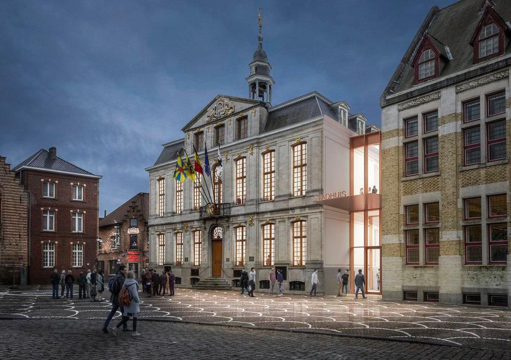 De nieuwe hoofdingang van het stadhuis komt op de Grote Markt., B-Architecten, Bressers en THIRD -