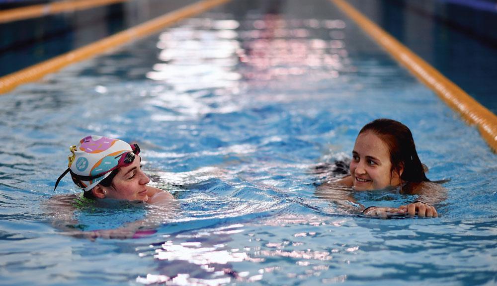 Emma Plasschaert et Fanny Lecluyse pendant le stage olympique de Belek, en décembre., BELGAIMAGE