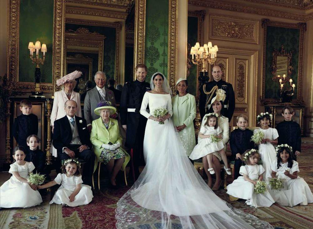 19 mai 2018. Deux jours après le mariage du prince Harry avec l'actrice Meghan Markle, le palais de Kensington a publié la nouvelle photo officielle de la famille royale britannique, prise au château de Windsor., © ALEXI LUBOMIRSKI/REPORTERS