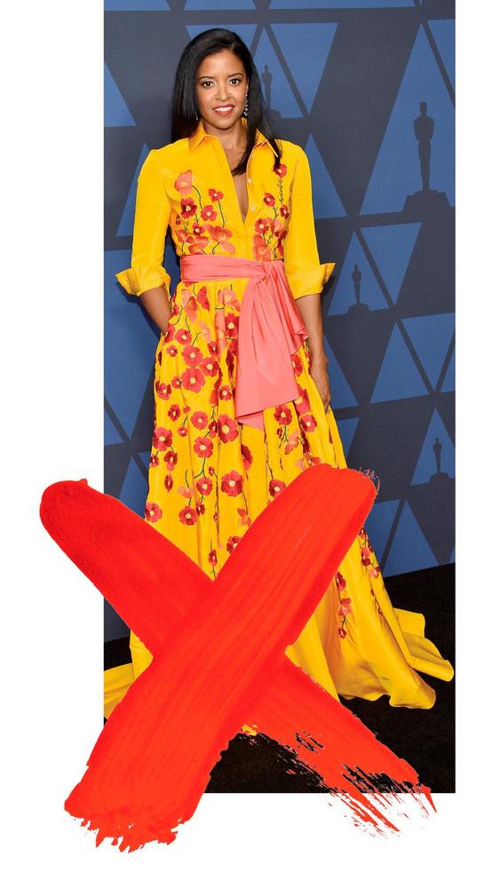 L'actrice Renee Elise Goldsberry dans une robe Carolina Herrera inspirée de la tradition mexicaine et ayant déclenché une polémique., BELGA IMAGE