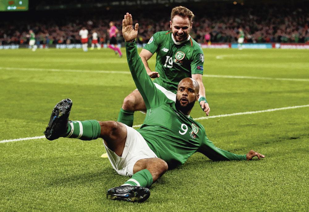 David McGoldrick is de spits van de Ierse nationale ploeg. Hij scoorde op het veld van Zwitserland., BELGAIMAGE