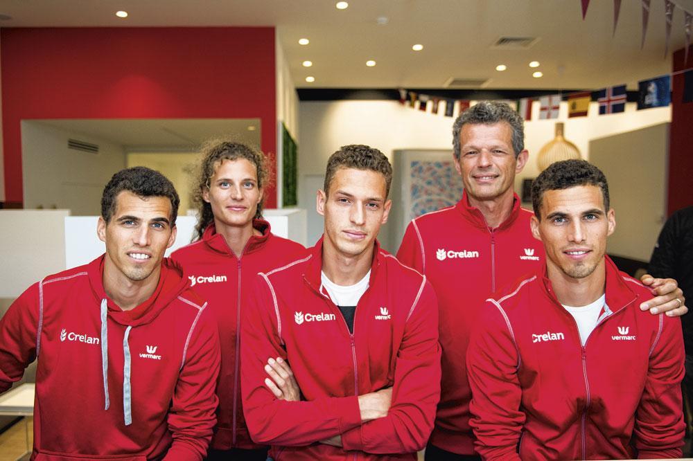 Le clan Borlée au grand complet avec Jacky, le papa, les jumeaux Jonathan et Kevin, Dylan et Olivia., belgaimage