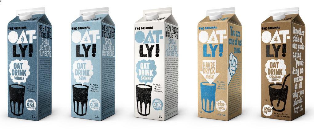 Une partie de la gamme de lait d'avoine de la marque Oatly, DR