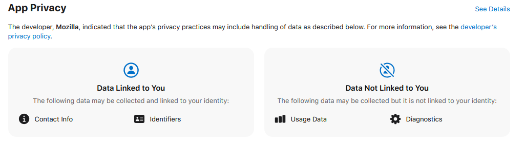 Le label de confidentialité de Firefox., EB