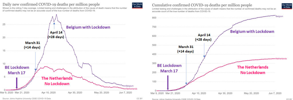 Fig. 2 Daily and cumulative confirmed COVID-19 Deaths per million people in Belgium and in the Netherlands during the 1st Wave., DR