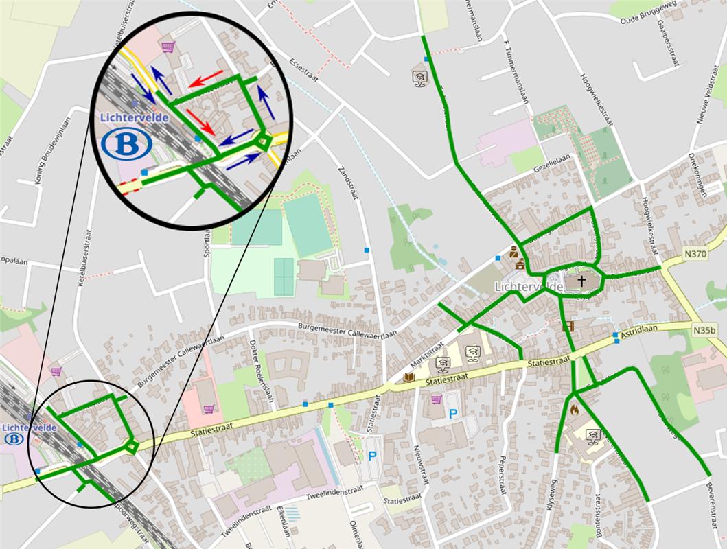 De 'groene' straten zijn fietsstraten. In de stationsomgeving geldt sinds woensdag eenrichtingsverkeer., gf