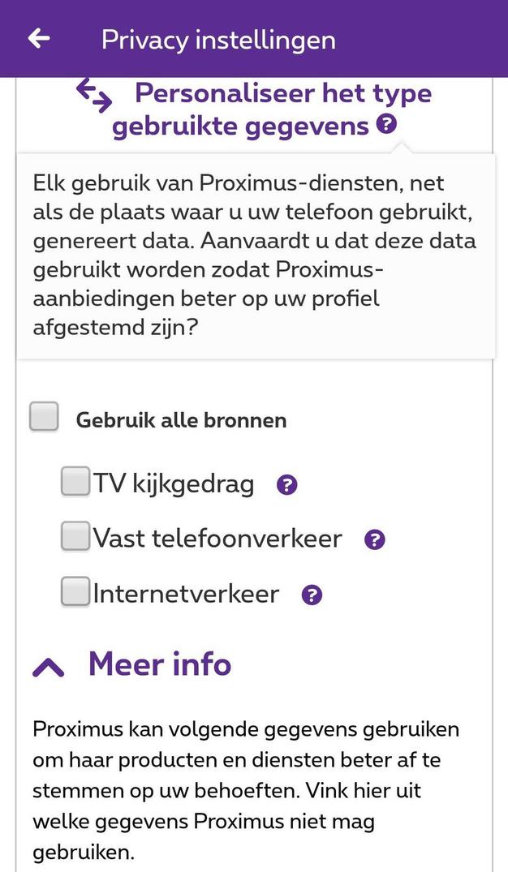 Een opt-out voor mobiele gegevens zal niet mogelijk zijn via de Proximus-app., .