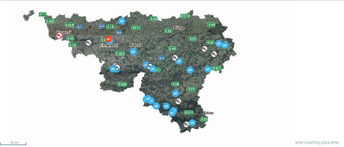 Carte des sites de baignades en Wallonie, http://environnement.wallonie.be/