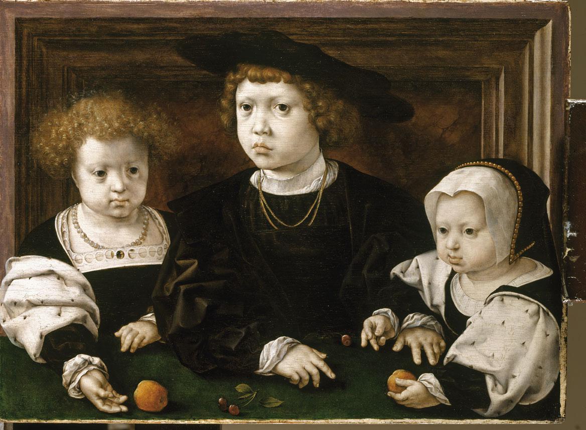 Johan, Dorothea en Christina na de dood van hun moeder Isabella. Jan Gossart, 1526, olieverf op paneel, Royal Collection Trust., Her Majesty Queen Elizabeth II 2020