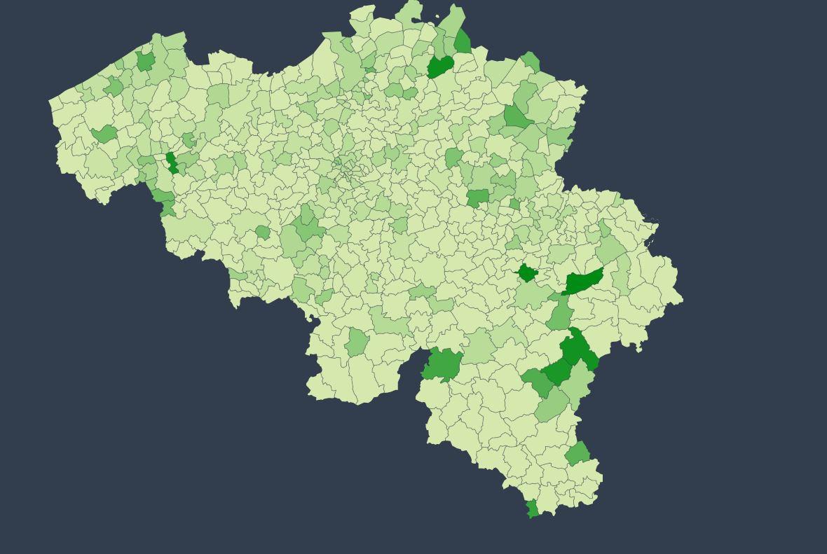 Cette carte indique la présence du coronavirus SARS-COV-2 au niveau communal. Plus le vert est foncé, plus le nombre de cas est élevé (échelle de 0 à 60)., Sciensano