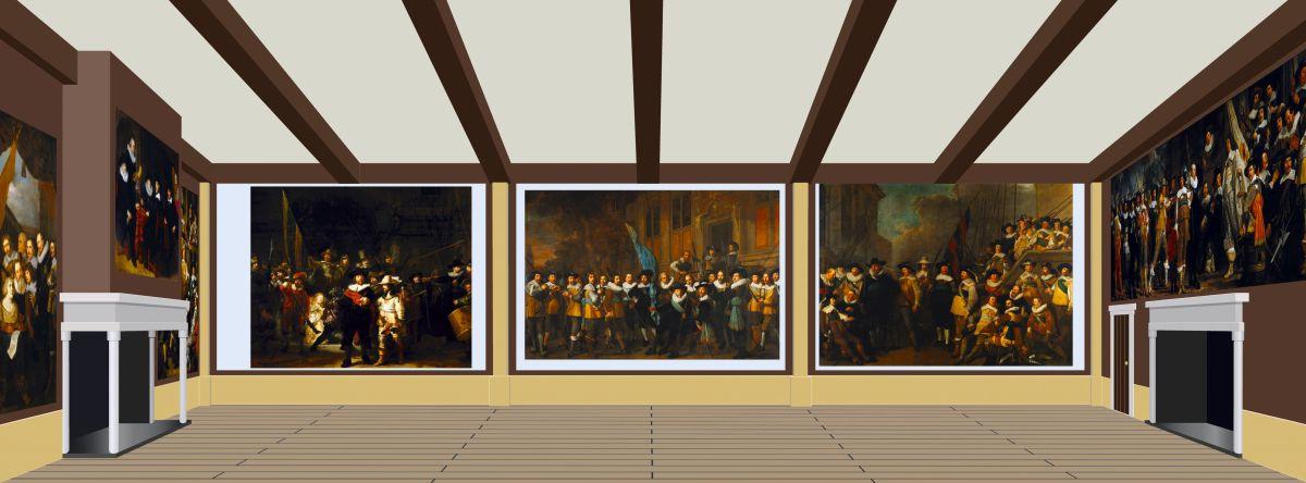 Een reconstructie van de grote zaal van de Kloveniersdoelen in Amsterdam waar de Nachtwacht onderdeel was van een ensemble van zeven schuttersstukken., Ineke de Graaf