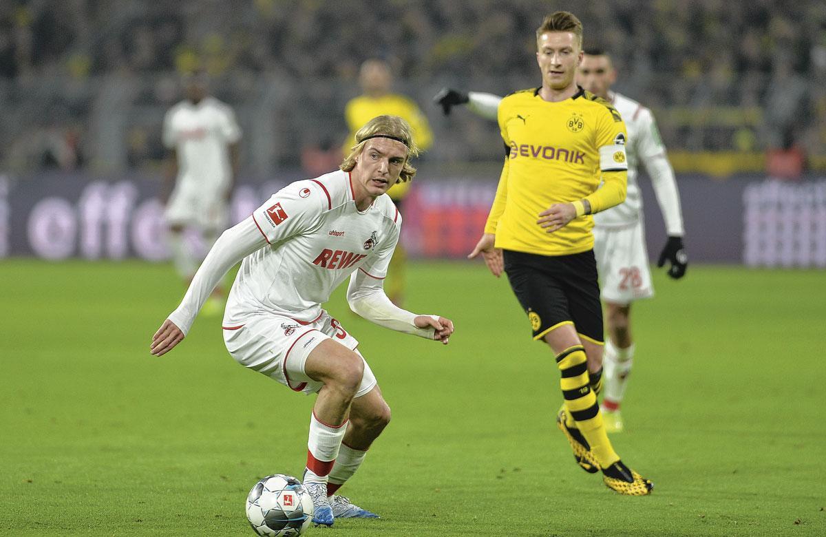 Sebastiaan Bornauw in actie tegen Dortmund, de wedstrijd van zijn doorbraak bij FC Köln., GETTY