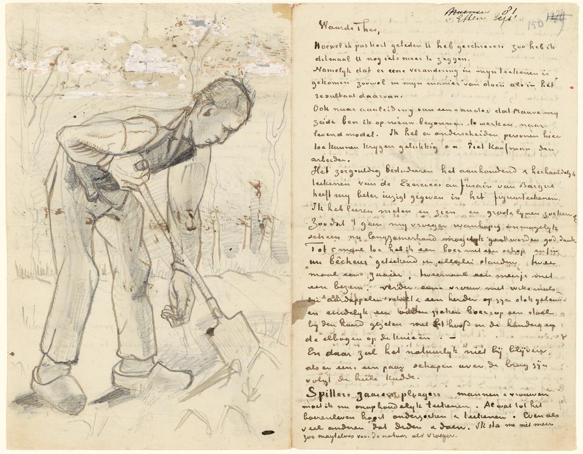 Vincent van Gogh, Blad 1 van brief van Vincent van Gogh aan Theo van Gogh met schetsen van Spitter (recto), Stormlucht boven een veld, Spitter en Vrouwenfiguur (verso), Etten, 8 - 22 september 1881, pen in inkt op papier, 20.7 x 26.3 cm, Van Gogh Museum, Amsterdam (Vincent van Gogh Stichting). Brief nummer 172