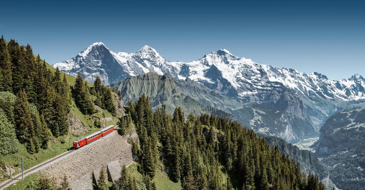 Spoorweg in de regio van de Jungfrau, Switzerland Tourism