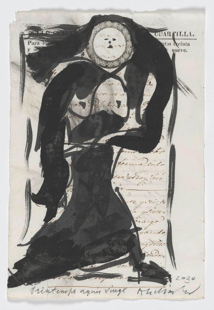 Lente jaar 20, Pierre ALECHINSKY (1920), | Oost-Indische inkt, gewassen op een 19e-eeuwse Spaanse register pagina., KMSKB, Brussel / Courtesy of the artist | foto: J. Geleyns - Art Photography