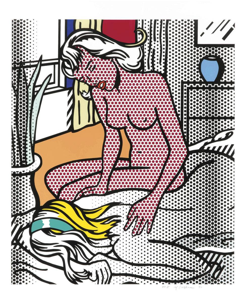 Roy Lichtenstein, Two Nudes, 1994, reliëfafdruk in 13 kleuren op gietpapier. Coll. Lex Harding., ESTATE OF ROY LICHTENSTEIN / SABAM 2020