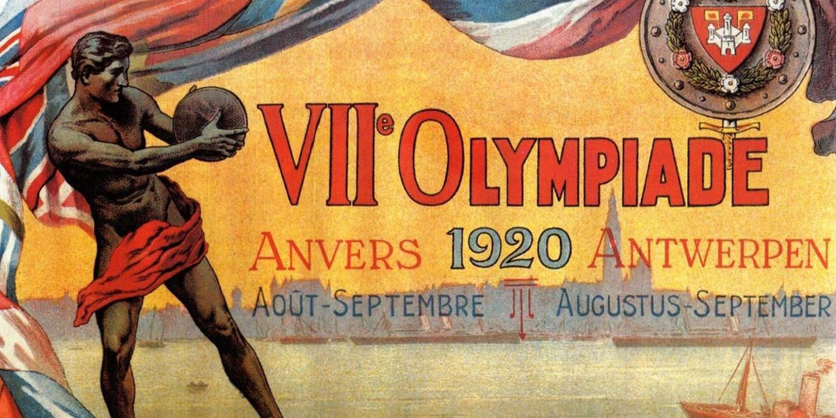 De poster die de 7e Olympiade in Antwerpen aankondigde, BOIC