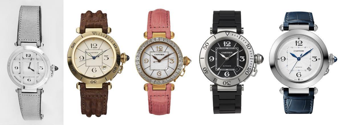 V.l.n.r.: de originele Pasha uit de vroege jaren dertig, een model uit 1985, een Pasha voor vrouwen uit 1998, de Pasha Seatimer uit 2006, en een horloge uit de nieuwe collectie., GF / Cartier