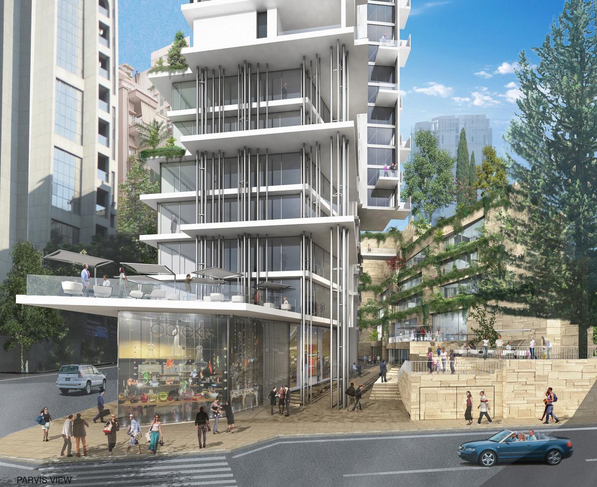 A Beyrouth, les bâtiments peuvent s'élever assez haut, comme dans ce projet mixte, mais la vie au niveau rue est néanmoins bouillonnante., 4b