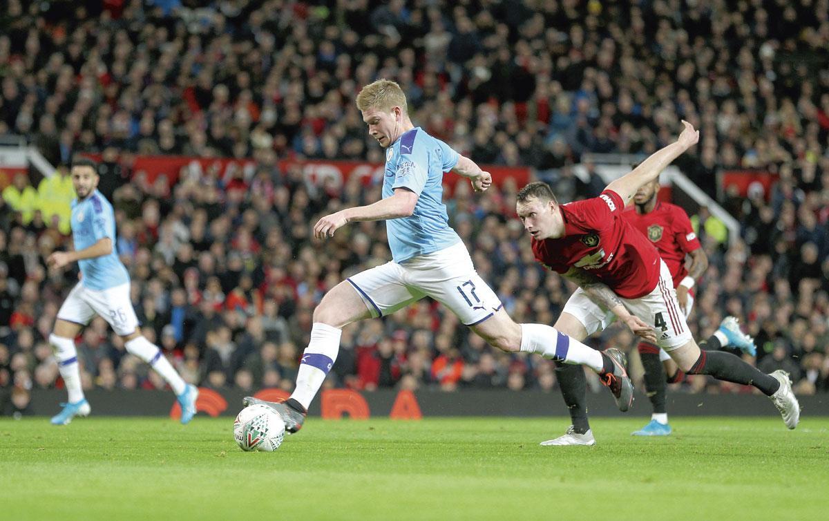 Kevin De Bruyne in de derby van Manchester: een nieuw traject onder Pep Guardiola., GETTY